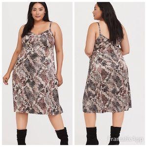 NWT TORRID Snake Print Satin Slip Dress SZ 2